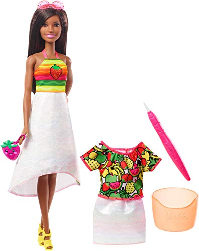 Barbie Crayola Rainbow Fruit Surprise Strawberry-Scented Brunette Doll and Fashions, Creative Art Toy, Gift for 5 Year Olds and Up