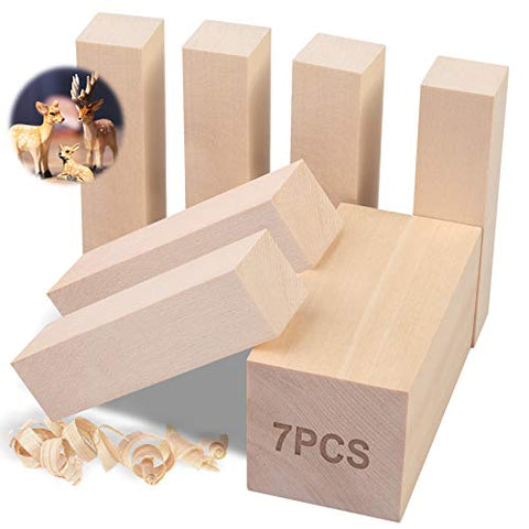 7Pcs Basswood Carving Blocks, Whittling Blocks Basswood for Craft, Basswood Carving Wood for Beginner to Expert