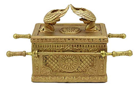 "Ebros Matte Gold Holy Ark Of The Covenant With Ten Commandments Rod of Aaron and Manna Religious Decorative Figurine Trinket Box Collectible Judaic Israel Historic Model Replica (1:10 Scale 5.25""Long)"
