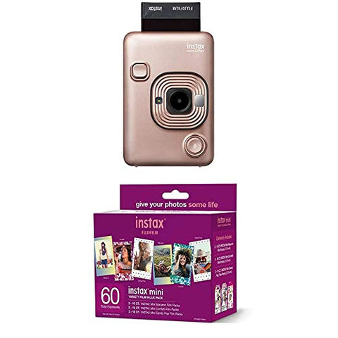 Instax Mini Liplay Hybrid Instant Camera - Blush Gold + w/60-pack
