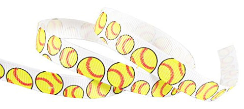 "Softball Ribbon for Crafts, Yellow Ribbon-HipGirl 3/8"" Sports Printed Grosgrain Ribbon-Softball,"
