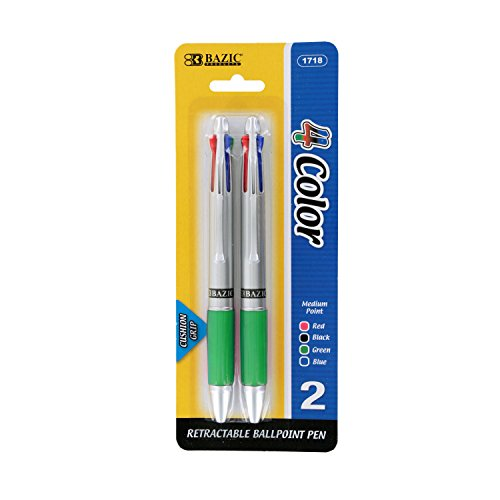 Bazic Silver Top 4-Color Pen with Cushion Grip, Pack of 2 (Green)