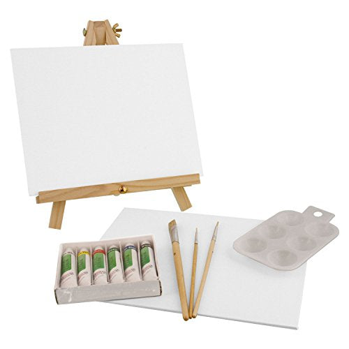 US Art Supply 14-Piece Acrylic Painting Set with Mini Table Easel