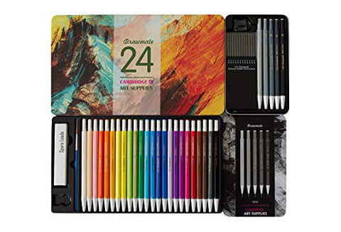 Ultimate Bundle!! Cambridge Art Supplies Watercolor Pencils – Drawmate Professional Collection for Adults Includes 24 x Color Pencils + 100% Free Color Leads & 5 Free Graphite Pencils
