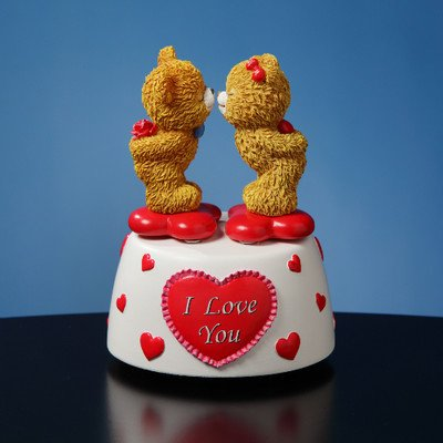 Kissing Bears Animated Musical Figurine by The San Francisco Music Box Company