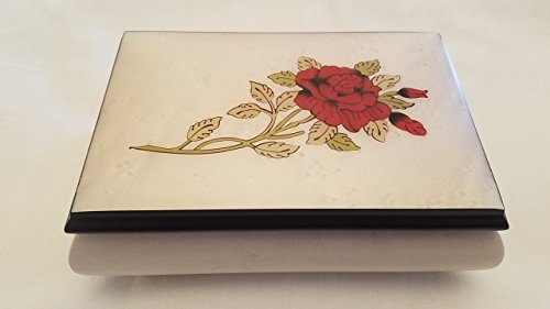 White Floral with Red Rose Italian inlaid musical jewelry box with customizable tune options
