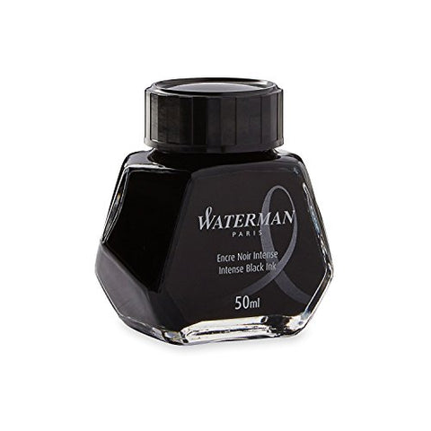 Waterman 50ml Ink Bottle for Fountain Pens, Intense Black Ink (S0110710)