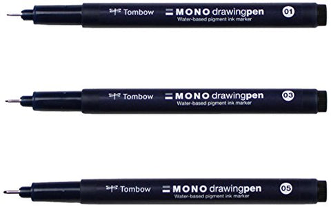 Tombow Mono Drawing Pen, 3-Pack (66403)