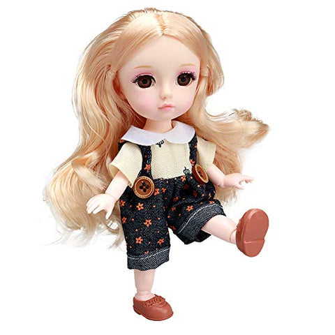 Little Bado 6 Inch Joints DIYT Doll with Silky Hair and Makeup Face, Wearing Exquisite Clothes and Shoes, SD, Great Gift for 7 Year-Olds Boys Girls and Up BJD Girl Doll Muguang