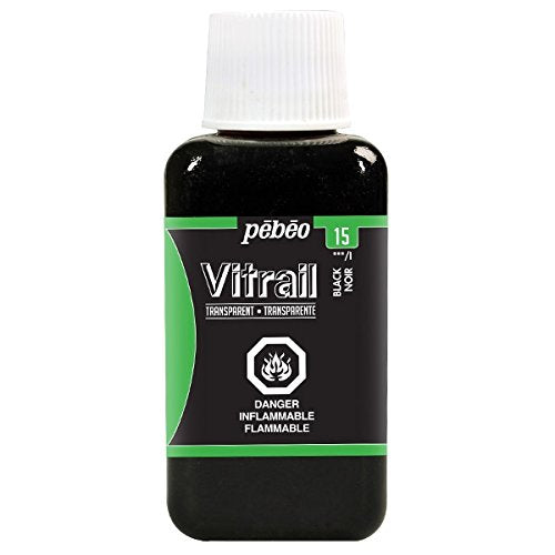 Pebeo 250ml Vitrail Stained Glass Effect Paint Bottle, Black
