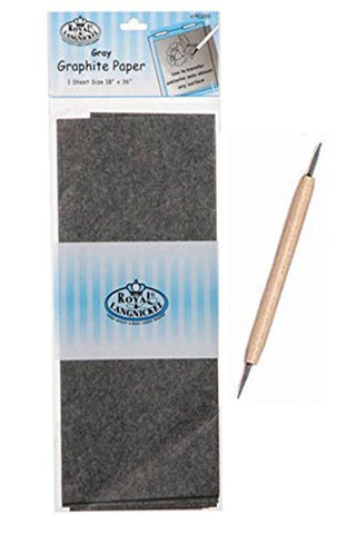 Set of 2-Royal Langnickel Graphite Paper 18 x 36 (Gray) & Double-Ended Stylus