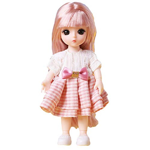 Angelhood 1/6 Mini BJD Doll, 17cm Ball Jointed Dolls with Clothes Dress Up Wig and Movable Joint, Toy Gift for Girls