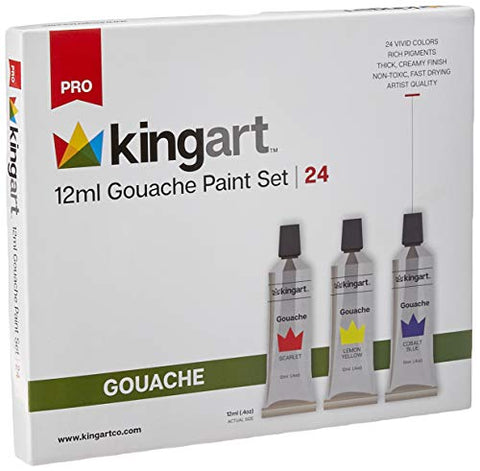 KINGART 534-24 12ml Set, Set of 24 Gouche Paint, Assorted