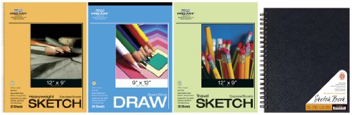 Pro Art Drawing and Sketching Paper Value Pack, Spiral Bound Pad