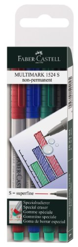 Faber-Castell Super Fine Non-Permanent Multimark (Wallet of 4)