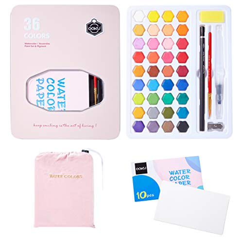 OOKU 36 Professional Gouache Watercolor Kit with Water Brush Pen, Pencils, Pouch | Watercolor Set with Metal Box | Painting Supplies with Palette | Perfect for Artists Students Kids & Adults - Pink