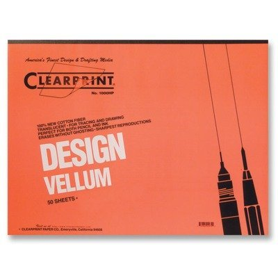 Clearprint CHA10001416 Not Available 10001416 Design Vellum Paper, 16lb, White, 11 x 17, 50Sheets per Pad