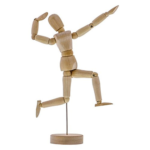 "US Art Supply Wood 8"" Artist Drawing Manikin Articulated Mannequin with Base and Flexible Body -"
