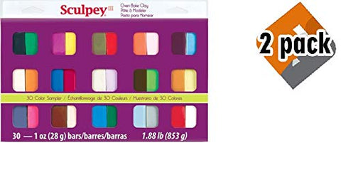 Sculpey III Oven Bake Clay Sampler 1oz, 30/pkg, 2 Pack
