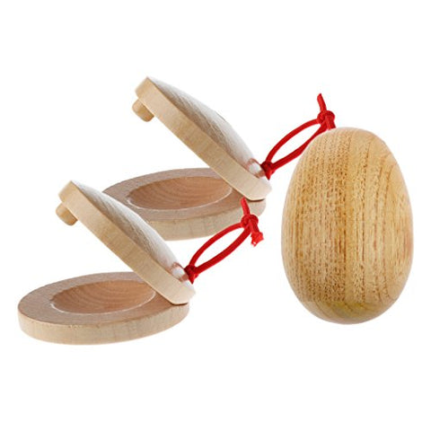 MagiDeal A Pair Wooden Castanets + 1 Piece Handcrafted Wooden Egg Rattle Toy for Kids Gift Hand Percussion