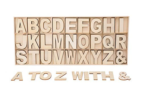 FROSTDONKEY Wooden Letters 2 inches, 162 Pieces Wood Alphabet Letters Set with Storage Tray, Small Unfinished Wooden Craft Letters for Painting, Kids Learning, Spelling, Teaching, Home Wall Door Decor