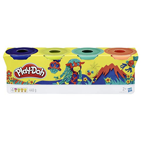 Play-Doh 4 Pack of Wild Non-Toxic Colours for Kids 2 Years and up, 4 oz Cans