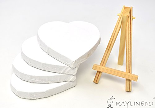 Shop RayLineDo Set of 4pcs Mini Heart Shaped Artist Blank Canvas ...