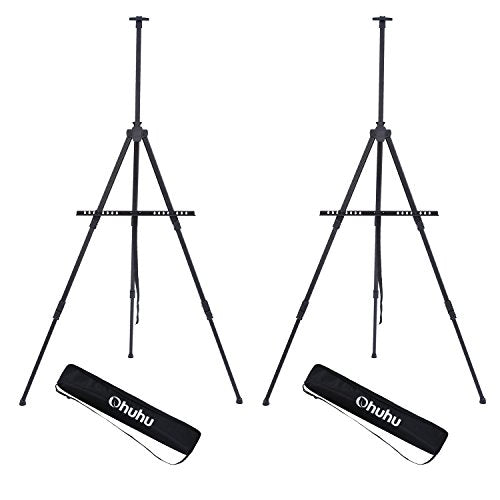 Display Easel Stand, Ohuhu Aluminum Metal Tripod Field Easel with Bag for Table-Top/Floor, 2-Pack
