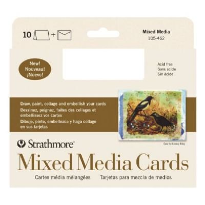 Strathmore Full Size Mixed Media Cards, 140 lb. Vellum, 5 X 6.875 inches, White, Package of 10