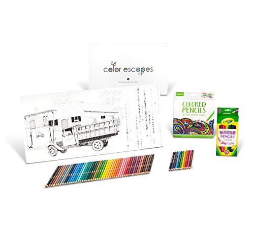 Crayola Color Escapes Coloring Pages & Pencil Kit, Americana Edition, 12 Premium Pages, 12