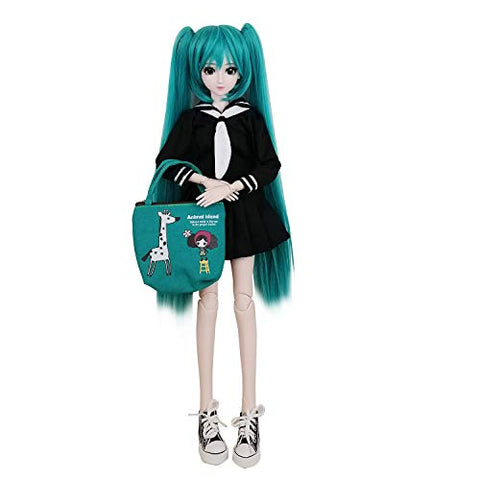 "EVA BJD 1/3 SD Doll 24"" Ball Jointed Gift BJD Doll +Makeup +Full Set School Uniform Girls (Green Hair)"