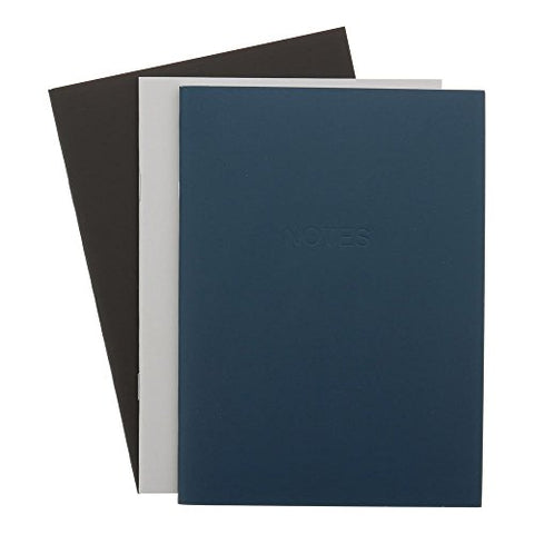 Art Alternative Everyday Soft Cover Notebooks, One Each Navy, Gray and Black, 48 Pages Each, 3.5