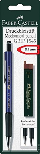 Faber-Castell Mechanical Pencil 0.5mm, Grip Druckbleistift Set, (1x Pencil, 12 Refill Leads B, in