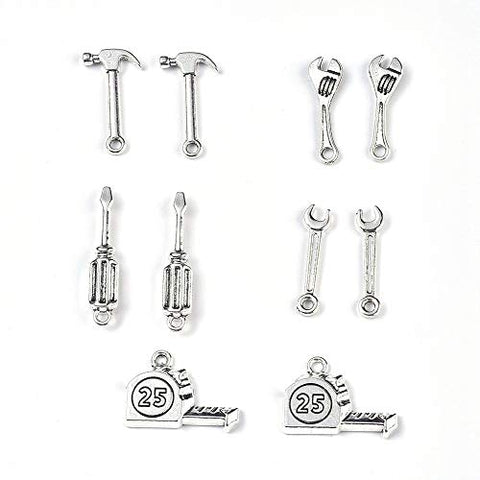 Kissitty 20Pcs Antique Silver Tool Theme Charms Collection Tibetan 5 Styles Metal Pendants with Hole for DIY Jewelry Craft Bracelet Making