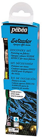 Pebeo Setacolor Opaque Suede Effect Discovery Set of 6 Assorted 20ml Fabric Paint Colors