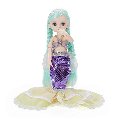 Tranhi Toys 10 Inch Little Mermaid Doll 13 Removable Joints for Girls Kids Age 3+ Baby Mermaid BJD Doll Toy with Fishtail Skirt Best Birthday Gift Holiday Present