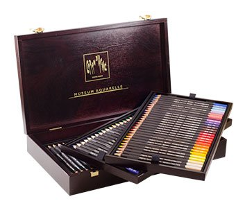 Caran D'ache Museum Aquarelle Watercolor Pencils - 72 Colors in a Wood Box (3510.476)