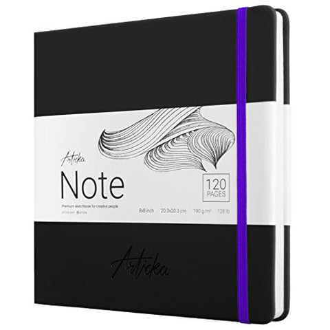 Articka Note Hardcover Sketchbook – Square Hardbound Sketch Journal – 8 x 8 Inch Art Book – 120 Pages with Elastic Closure – 190GSM Paper – Ideal for Pencils, Graphite, Charcoal, Pen