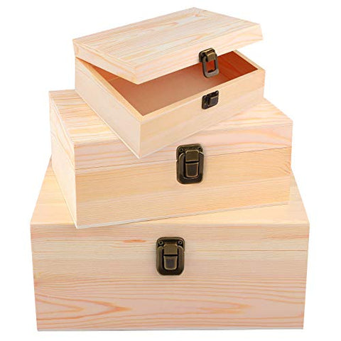 ADXCO 3 Pack Unfinished Wood Treasure Chest Decorative Wooden Box Pine Wood Box with Locking Clasp for Crafts, Art, Hobbies, Projects, Jewelry Box and Home Storage