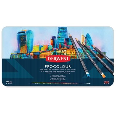 Derwent Colored Pencils, Procolour Pencils, Drawing, Art, Metal Tin, 72 Count (2302508)