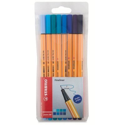 Stabilo Point 88 Fineliner Pens, 0.4 mm - Shades of Blue 8-Color Set