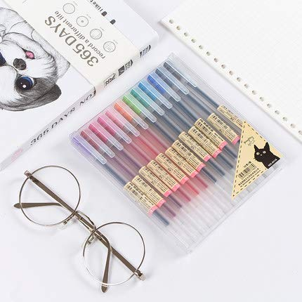Premium MUJI Style Gel Ink Ball Point Pen [0.5mm] for Office School Stationery Supply (12PCS Colorful)