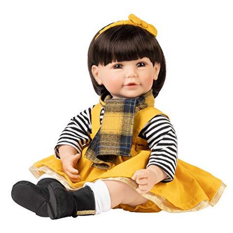Adora Toddler Doll Fall Breeze in Striped Blouse. Yellow Mustard Dress and Fall Ready Scarf. Comes with a Diaper, Multicolor (22094)