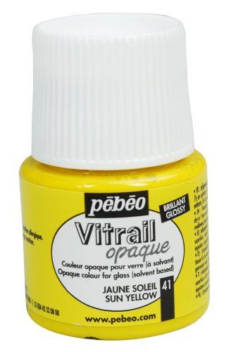 Pebeo Vitrail Stained Glass Effect Glass Paint 45-Milliliter Bottle, Sun Yellow