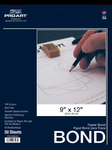 Pro Art 9-Inch by 12-Inch Bond Paper Pad
