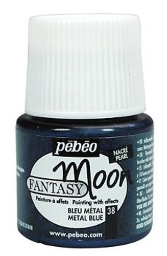 Pebeo Fantasy Moon Multi Surface Craft Paint 45ml Pots (Metal Blue)