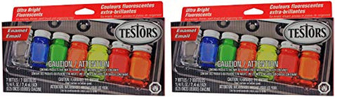 Testors Enamel Paint Set, 9132X, Fluorescent (Тwo Рack)