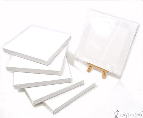 RayLineDo Set of 6pcs Mini Artist Blank Canvas Frame 6x6inch ( 15x15cm ) Oil Water Painting Board
