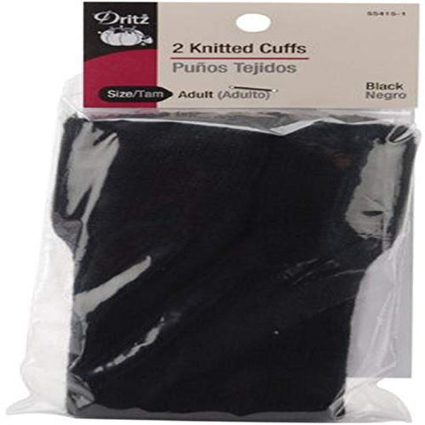 Dritz 55415-1 Knitted Cuffs, Adult Size, Black (2-Count)