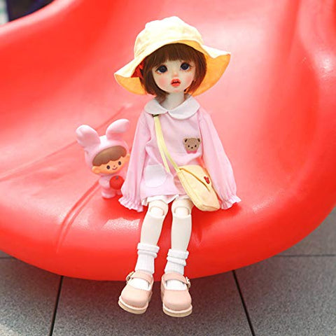 HMANE BJD Doll Clothes, Kindergarten Little Bear Clothes Set for 1/6 BJD Dolls - (Pink) No Doll